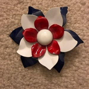 Jewelry - ⬇️ Vintage red white and blue flower pin